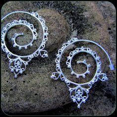 Silver Tribal Spiral Earrings  like fake by TalismanaDesigns, $45.00