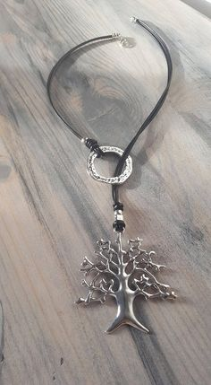 Tree of life pendant woman leather Y necklace endless Rings