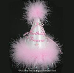 Birthday Princess White Pink Marabou Party Hat