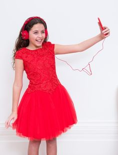 Rose Red Lace Prom Dress
