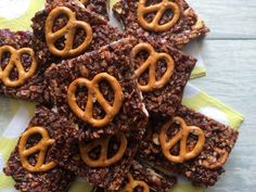 chocolate and salted pretzel granola squares - a healthier take on a flapjack, using dates for sticky sweetness.