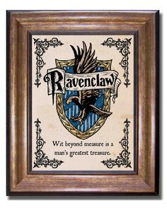 Ravenclaw House Crest And Motto Harry Potter Vintage Style Print Hogwarts Poster Sizes