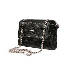 b1577df5453 3 Wind Knots - Small black leather chain shoulder bag Handgemaakte  Handtassen, Lederen Ketting,