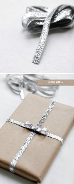 Wrap a present with glitter ribbon. / 43 DIY Ways To Add Some Much-Needed Sparkle To Your Life (via BuzzFeed)