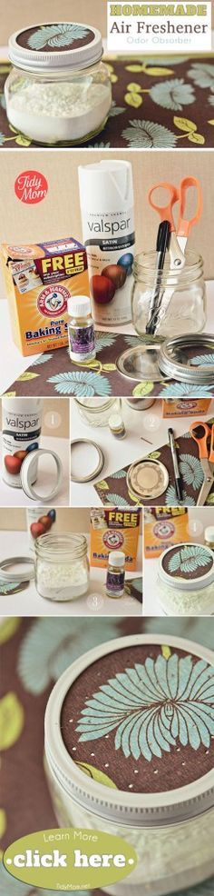 diy homemade air freshener made with essential oils-- Want the perfect little air freshener for a closet or mud room? Try baking soda and essential oils in a mason jar. Easy and effective! Deep Cleaning Tips, Cleaning Recipes, Natural Cleaning Products, Cleaning Hacks, Green Cleaning, Hacks Diy, Diy Cleaners, Cleaners Homemade, Household Cleaners