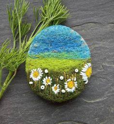 Felt Landscape Daisy Brooch  Needle felted