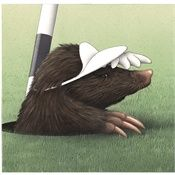 Alan Baker is an animator, expertized in crayon style mole on the golf course illustration