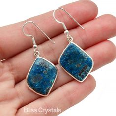 STUNNING Blue SHATTUCKITE Dangle Earrings in Sterling Silver Setting from the Congo w Chrysocolla Healing Crystals and Stones Set #SE2 by BlissCrystals on Etsy
