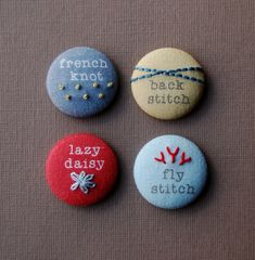 Magnets or Pinback Buttons, Hand Embroidered Modern Sampler Magnets in SUMMER BERRY Colors, Great stocking stuffer idea