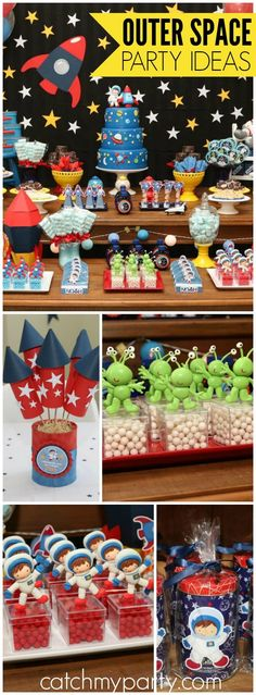"Space Astronaut Birthday / Birthday ""Noah's First Birthday Party - Outer Space P. Space Astronaut Birthday / Birthday ""Noah's First Birthday Party – Outer Space Party"" – # Boy First Birthday, Boy Birthday Parties, Blue Birthday, Birthday Celebration, Astronaut Party, Astronaut Birthday Party Ideas, Outer Space Party, Party Themes For Boys, 5th Birthday Ideas For Boys"