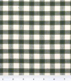 Homespun Cotton Fabric-Plaid Green/White