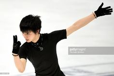 Yuzuru Hanyu of Japan in action during a training session ahead of the NHK Trophy ISU Grand Prix of Figure Skating at Big Hat on November 26, 2015 in Nagano, Japan.