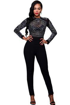 2016 women Autumn macacao feminino Full Length Solid Black Long Sleeves Rhinestone Mesh Bodice Formfitting Jumpsuit long LC64168