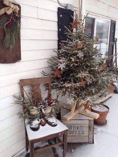 Cabin Christmas, Farmhouse Christmas Decor, Rustic Christmas, Christmas Holidays, Christmas Crafts, Primitive Christmas Decorating, Christmas Trees, Christmas Gingerbread, Christmas Christmas