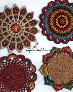 Crochet Coaster Pattern, Crochet Rug Patterns, Crochet Mandala Pattern, Crochet Beanie Pattern, Crochet Designs, Crochet Placemats, Crochet Doilies, Crochet Squares, Crochet Flowers