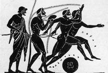 Atractiva selección de imágenes de distintas pruebas deportivas en la Grecia antigua sobre cerámica y en escultura