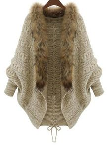 Cheap knitted cardigan, Buy Quality cardigans jacket directly from China winter women Suppliers: Winter Women Loose Fur Collar Sweater Batwing Sleeve Knit Cardigan Jacket Coat Cardigan Blazer, Batwing Cardigan, Cardigan Fashion, Knit Cardigan, Batwing Sleeve, Sweater Jacket, Brown Cardigan, Long Cardigan, Oversized Cardigan