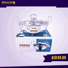 Vinod Steel Induction Kadai With Lid 24 Cm #household #kitchen #appliances #online #menakart #shopping #home