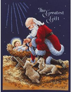 Janlynn Kneeling Santa - Cross Stitch Kit. A beautiful and inspirational scene depicting Santa Claus kneeling at the side of a makeshift cradle. Holding the han