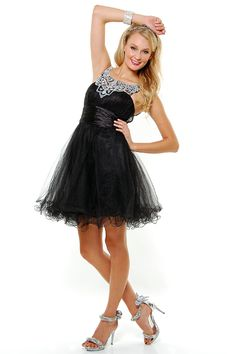 Black Diamond Mesh Tulle Short Cocktail Dress - Unique Vintage - Cocktail, Pinup, Holiday & Prom Dresses.