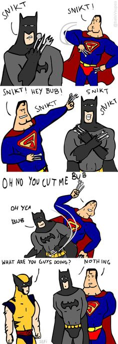 Batman And Superman Have A Claw Fight