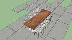 Live Edge Wood Slab Large table with chairs - 3D Warehouse