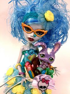 """OOAK MONSTER HIGH Doll Ghoulia Yelps Repaint """"Iris"""" Embellished Outfit / Accessories / Easter Basket with Bunny., via Etsy."""