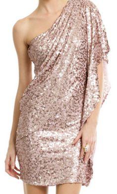 Rose gold glitter one shoulder dress