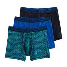 Men's Jockey 3-Pack Active Microfiber Boxer Briefs, Size: Medium, Blue (Navy)