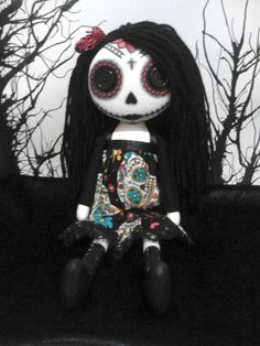 Day Of The Dead Gothic Art Rag Doll  Katrina by ChamberOfDolls