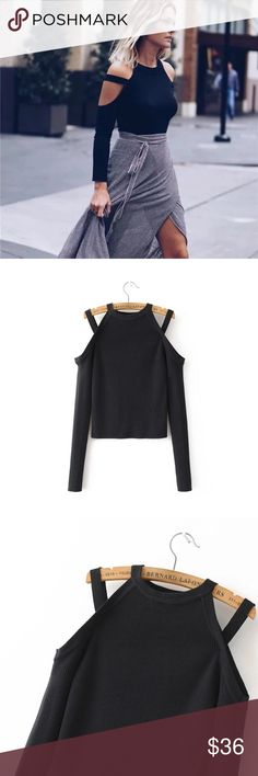 Cut out long sleeve top Cut out shoulders. Slim fit, small fit. NWOT Tops Tees - Long Sleeve