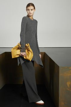 Charcoal Soft Ribs Dress, Charcoal Refined Ribs Trousers, Mustard Plonge Alter Nappa Shoulder Bag and White Alter Nappa Odette Lace-Up Slingback. Autumn 2015 Look 6