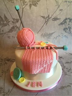 """Knitting themed birthday cake by Creative Birthday Cakes, Birthday Cakes For Women, Themed Birthday Cakes, Themed Cakes, 32 Birthday, Grandma Birthday Cakes, Grandma Cake, Cake Decorating Techniques, Cake Decorating Tips"