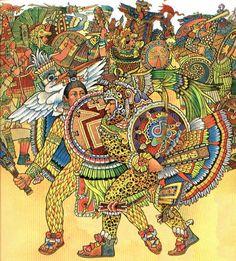 Aztec warrior painting.