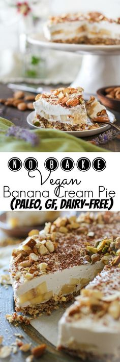 No-Bake Vegan Banana Cream Pie | TheRoastedRoot.net | A refined sugar-free…