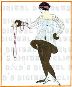 Stringing Along. Art DECO VINTAGE French Fashion Plate Illustration. FASHION Digital Download via Etsy