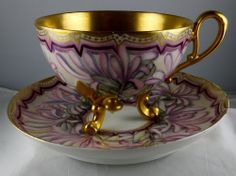 Limoges (?) Hand Painted Floral & Gold 3-Toed Footed Cup & Saucer Set - Nice ♡