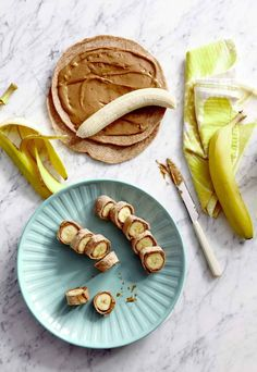 Banana Dog Bites Classic-old combo : Bananas - a darling energy - boosting carbohydrate - wrapped in wheat tortillas and peanut butter