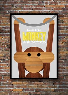 'Let's Monkey Around' Kay Bojesen monkey print is now available in grey and yellow.