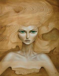 mandy-tsung-surreal-portraits-art-paintings-wood-green-eyes