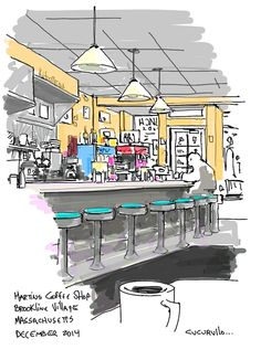 Martin's Coffee shop Brookline, Massachusetts (cafe sketch by Michael Cucurullo)