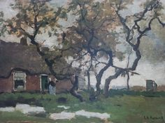 Arnold Koning in de collectie van kunsthandel Simonis-Buunk in Ede - Boerenerf, olie op paneel 31,4 x 41,7 cm., gesigneerd r.o.