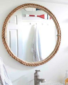 DIY Rope Mirror for a small Nautical Bathroom: http://www.completely-coastal.com/2016/06/coastal-nautical-small-bathroom-makeover-diy-ideas.html
