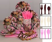 Pink Camo Party Pack with options of brown, ivory or pink cutlery and table cover. Baby Shower Camo, Baby Shower Backdrop, Baby Shower Balloons, Pink Camo Birthday, Pink Camo Party, 7th Birthday, Baby Shower Party Supplies, Baby Shower Parties, Baby Shower Themes