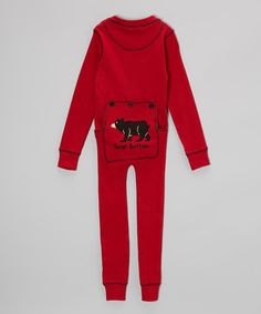 Another great find on #zulily! Red Stripe Bear Bottom Pajamas #zulilyfinds