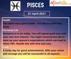 Check Your Today's Pisces Free Daily Horoscope (27-April-2017). Read your detailed horoscope at astrovidhi.com. Virgo Daily Horoscope, Scorpio Daily, Daily Zodiac, Zodiac Signs Gemini, Libra Daily, Leo Zodiac, Health Programs
