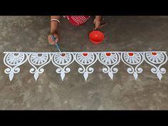 Rangoli Side Designs, Simple Rangoli Border Designs, Easy Rangoli Designs Diwali, Rangoli Designs Latest, Free Hand Rangoli Design, Small Rangoli Design, Rangoli Patterns, Rangoli Designs With Dots, Beautiful Rangoli Designs