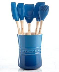 Le Creuset Revolution 6 Piece Kitchen Utensil Crock Set   Blue