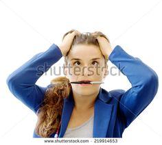stressed employee over white background - stock photo