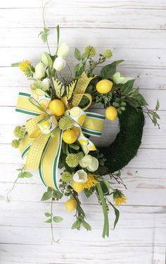 Excited to share this item from my #etsy shop: Summer Lemon Wreath, Small moss wreath, Spring Porch Wreath, Summer decor, Kitchen lemon wreath, Wall decor, beach house decor, Country Spring Front Door Wreaths, Spring Wreaths, Moss Wreath, Lemon Wreath, Beach House Decor, Home Decor, Grape Vines, Porch, Wall Decor